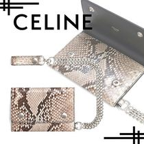 CELINE Unisex Street Style Chain Folding Wallets