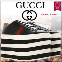 3a1291ffcca GUCCI Stripes Platform Round Toe Lace-up Casual Style Street Style