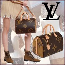 Louis Vuitton SPEEDY Monogram Canvas Blended Fabrics 2WAY Bi-color Elegant Style