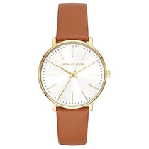 Michael Kors Unisex Leather Round Quartz Watches Office Style