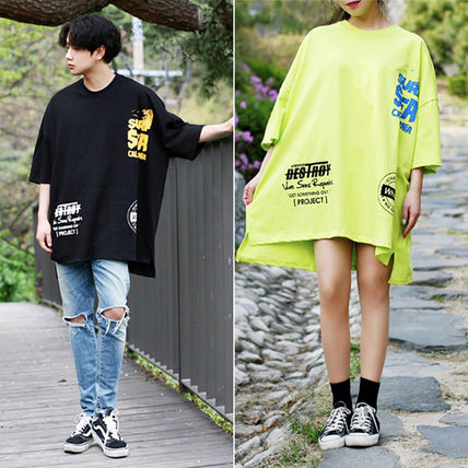 Crew Neck Crew Neck Unisex Street Style Cotton Short Sleeves Oversized 5