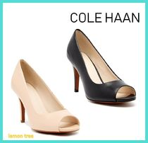 Cole Haan Open Toe Plain Leather Pin Heels Elegant Style