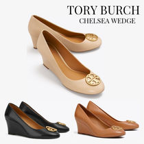 Tory Burch Round Toe Plain Leather Office Style Logo