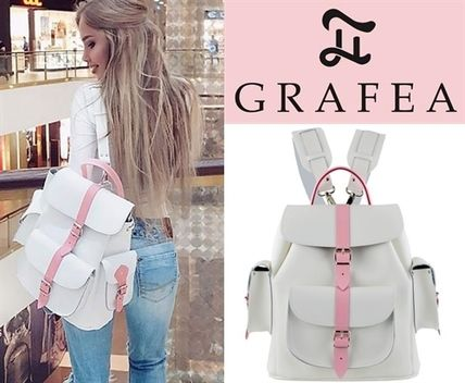 Casual Style Street Style Bag in Bag Plain Leather Backpacks