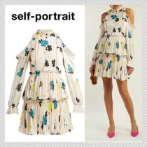 SELF PORTRAIT Flower Patterns Long Sleeves Medium Party Style Dresses