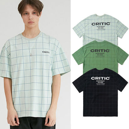 Crew Neck Pullovers Other Plaid Patterns Unisex Street Style