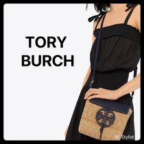 Tory Burch MILLER Plain Leather Straw Bags