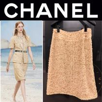 CHANEL ICON Tweed Street Style Medium Handmade Elegant Style Midi Skirts