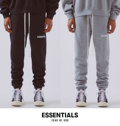 2019 original check out various styles FEAR OF GOD ESSENTIALS 2019 SS Tapered Pants Unisex Sweat Street Style  Plain Tapered Pants