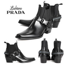PRADA Leather Ankle & Booties Boots