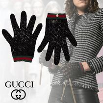 GUCCI Stripes Blended Fabrics Cotton Gloves Gloves