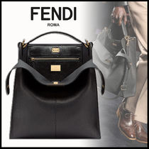 FENDI PEEKABOO Calfskin 2WAY Plain Python Business & Briefcases