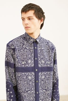 Paisley Unisex Street Style Long Sleeves Oversized Shirts