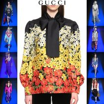 GUCCI Flower Patterns Long Sleeves Elegant Style Shirts & Blouses