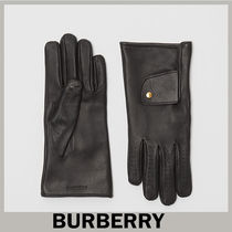 Burberry Plain Leather Leather & Faux Leather Gloves