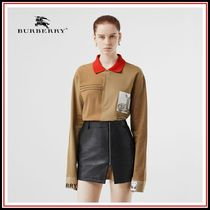Burberry Long Sleeves Cotton Polo Shirts