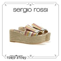 Sergio Rossi Other Check Patterns Open Toe Rubber Sole Casual Style