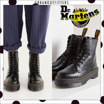 Dr Martens Platform Round Toe Casual Style Unisex Plain Leather