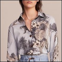 Massimo Dutti Flower Patterns Linen Long Sleeves Medium Elegant Style