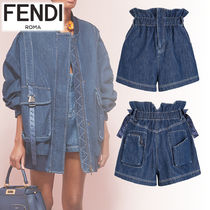 FENDI Short Casual Style Plain Cotton Denim & Cotton Shorts