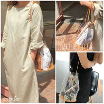 Casual Style 2WAY Plain Crystal Clear Bags PVC Clothing