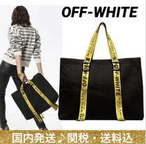 Off-White Casual Style Unisex Canvas A4 Oversized Totes