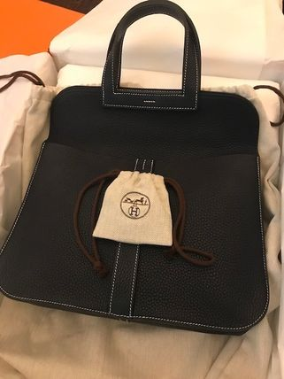 HERMES Casual Style 3WAY Plain Leather Handmade Office Style