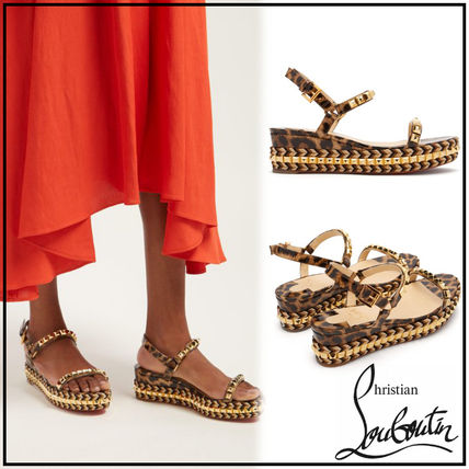 reputable site be7d2 9ea79 Christian Louboutin CATACLOU Leopard Patterns Casual Style Street Style  Leather Sandals