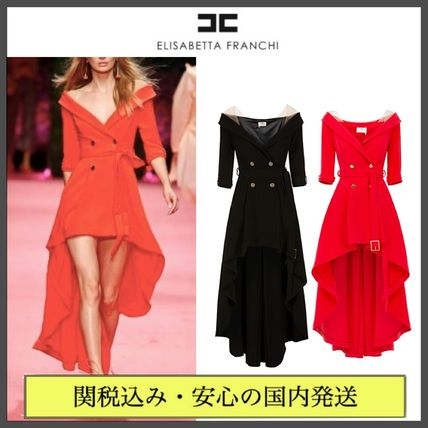 Flared Plain Party Style Dresses