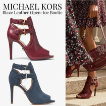Michael Kors Open Toe Rubber Sole Casual Style Plain Leather