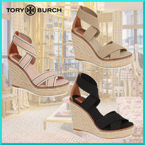 Tory Burch Open Toe Casual Style Plain Platform & Wedge Sandals