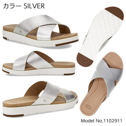 Open Toe Casual Style Bi-color Plain Leather Footbed Sandals