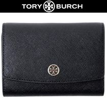 Tory Burch ROBINSON Unisex Plain Leather Folding Wallets