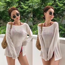 Blended Fabrics Street Style Plain Beach Cover-Ups