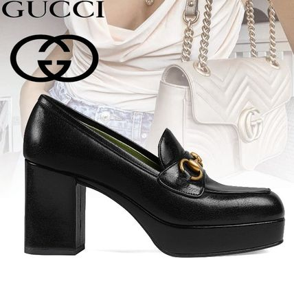 b48aa4a863d ... GUCCI Loafer Square Toe Platform Plain Leather Loafer Pumps   Mules ...