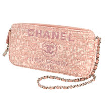 CHANEL DEAUVILLE Casual Style Canvas 2WAY Plain Clutches