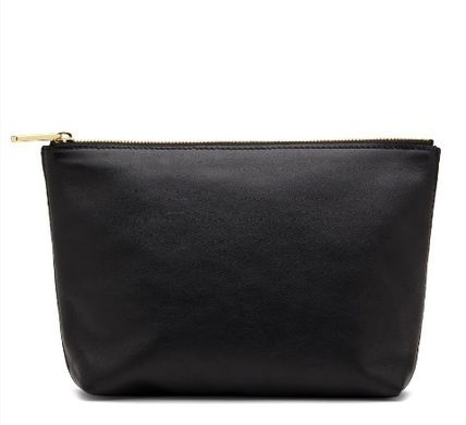 Unisex Plain Leather Logo Pouches & Cosmetic Bags