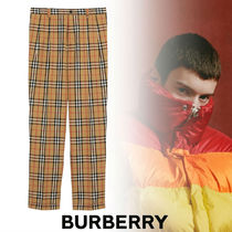 Burberry Other Check Patterns Street Style Cotton Pants