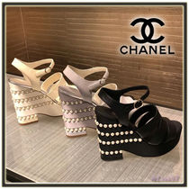 CHANEL Open Toe Plain Leather Elegant Style