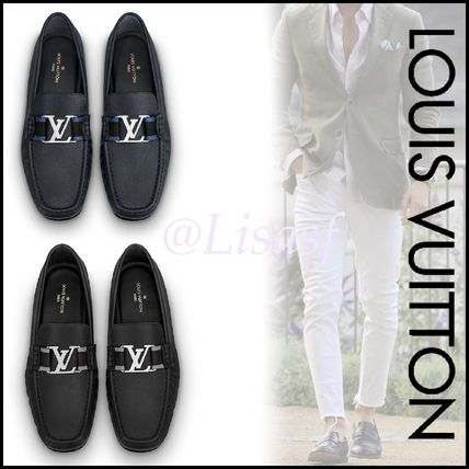 Louis Vuitton Loafers & Slip-ons Plain Toe Moccasin Blended Fabrics Plain Leather