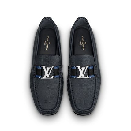 Louis Vuitton Loafers & Slip-ons Plain Toe Moccasin Blended Fabrics Plain Leather 9