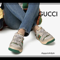 GUCCI Round Toe Rubber Sole Lace-up Casual Style Blended Fabrics