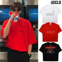 ASCLO Unisex Street Style Collaboration Plain Cotton Short Sleeves