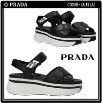 PRADA Open Toe Platform Casual Style Leather Sport Sandals