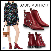 Louis Vuitton Round Toe Plain Leather Elegant Style Ankle & Booties Boots
