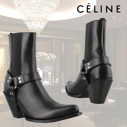 CELINE High Heel Square Toe Leather High Heel Boots