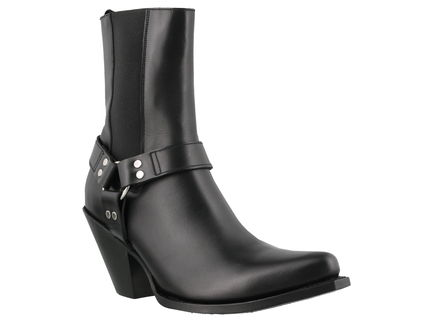 CELINE High Heel Square Toe Leather High Heel Boots 6