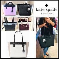 kate spade new york Saffiano A4 Bi-color Plain Office Style Totes