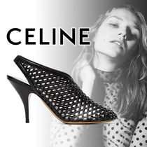 CELINE Plain Leather Pin Heels Heeled Sandals