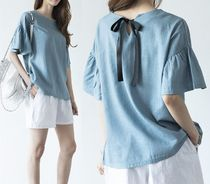 Linen Puff Sleeves Shirts & Blouses
